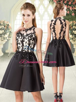 Delicate Black Sleeveless Satin Backless Prom Dress for Prom and Party