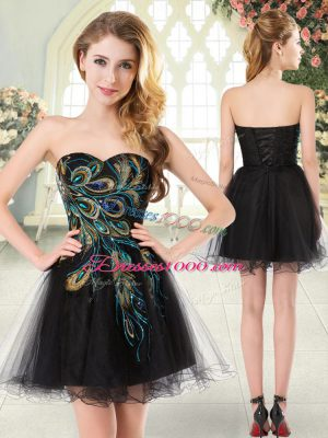 Sweetheart Sleeveless Tulle Prom Gown Beading and Appliques Lace Up