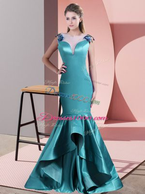 Eye-catching Teal Zipper Scoop Beading and Lace Prom Dress Satin Sleeveless Sweep Train