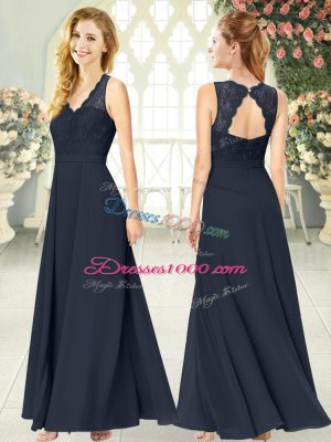 V-neck Sleeveless Chiffon Casual Dresses Lace Zipper