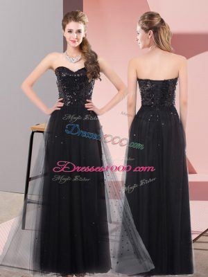 Noble Black Lace Up Sweetheart Sequins Prom Dresses Tulle Sleeveless