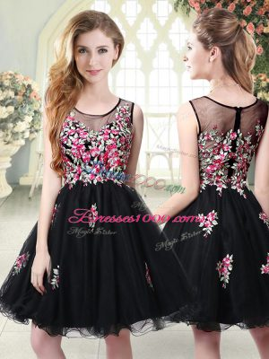 Simple Black Scoop Zipper Embroidery Prom Party Dress Sleeveless