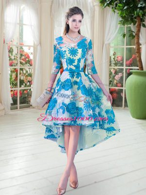 Blue And White Scoop Neckline Belt Prom Party Dress Half Sleeves Lace Up