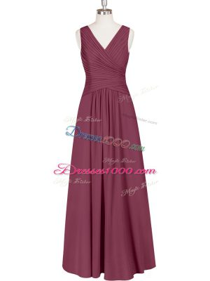 Burgundy Chiffon Zipper Homecoming Dress Sleeveless Floor Length Ruching