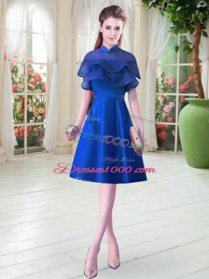 Low Price Cap Sleeves Satin Knee Length Lace Up Prom Gown in Royal Blue with Ruffled Layers