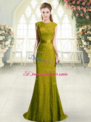 Custom Design Gold Mermaid Beading and Lace Prom Gown Backless Cap Sleeves