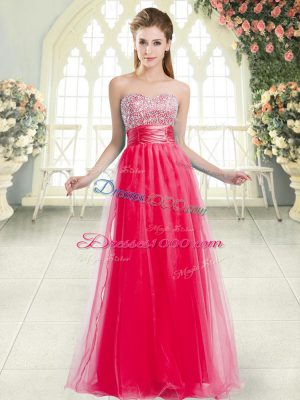 Sweetheart Sleeveless Evening Dress Floor Length Beading Coral Red Tulle