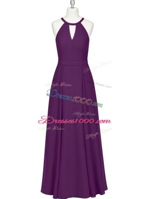 Hot Selling Eggplant Purple Zipper Straps Ruching Prom Gown Chiffon Sleeveless
