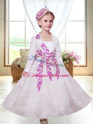 White Sleeveless Embroidery Ankle Length Flower Girl Dress