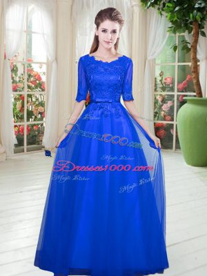 Discount Royal Blue Half Sleeves Floor Length Lace Lace Up Evening Dress