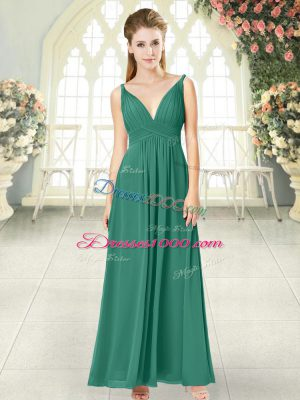 Popular Ankle Length Empire Sleeveless Green Juniors Party Dress Backless