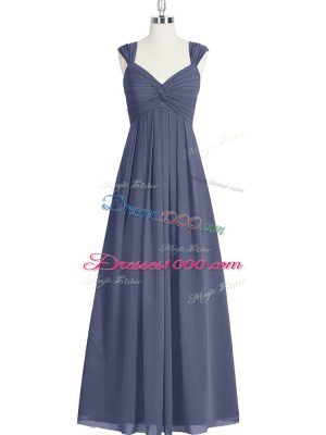 Blue A-line Ruching Prom Gown Zipper Chiffon Sleeveless Floor Length