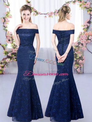 Exquisite Navy Blue Lace Up Off The Shoulder Sleeveless Floor Length Damas Dress Lace
