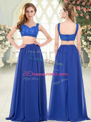 Customized Royal Blue Chiffon Zipper Straps Sleeveless Floor Length Prom Party Dress Beading and Lace