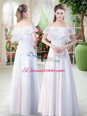 White Satin Zipper Off The Shoulder Short Sleeves Floor Length Dress for Prom Lace