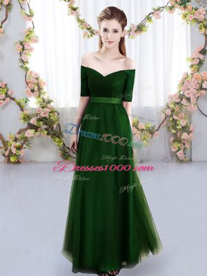 Short Sleeves Ruching Lace Up Bridesmaid Dresses