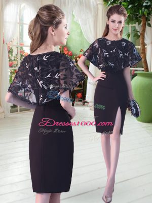 New Style Black Half Sleeves Satin Lace Up Prom Gown for Prom and Party and Military Ball