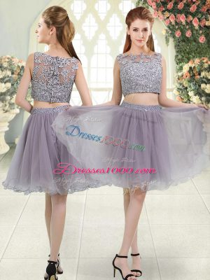 Glittering Grey Two Pieces Organza Scoop Sleeveless Beading and Lace Knee Length Zipper