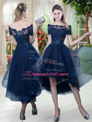 Navy Blue A-line Lace Womens Party Dresses Lace Up Tulle Short Sleeves High Low
