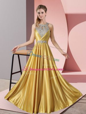 Floor Length Gold Evening Dress Halter Top Sleeveless Lace Up