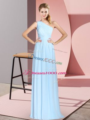 Sleeveless Floor Length Ruching Lace Up Prom Dresses with Blue