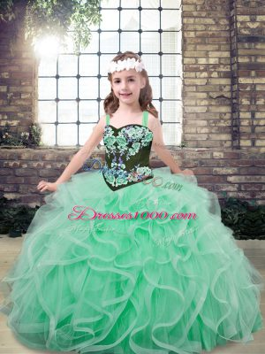 Dramatic Tulle Sleeveless Floor Length Pageant Gowns and Embroidery and Ruffles