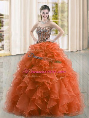 Sleeveless Floor Length Beading and Ruffles Lace Up Quinceanera Gowns with Rust Red