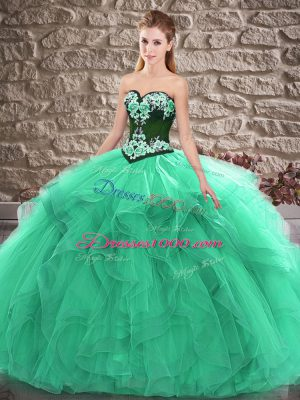 Graceful Turquoise Tulle Lace Up Sweetheart Sleeveless Floor Length Sweet 16 Dresses Beading and Embroidery