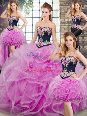 Lilac Sweetheart Lace Up Embroidery and Ruffles 15 Quinceanera Dress Sweep Train Sleeveless