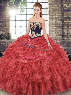 Colorful Sleeveless Embroidery and Ruffles Lace Up 15 Quinceanera Dress with Red Sweep Train