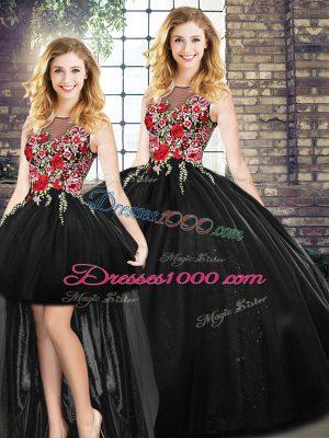 Cute Floor Length Ball Gowns Sleeveless Black Sweet 16 Dress Zipper
