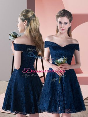 Navy Blue A-line Off The Shoulder Sleeveless Mini Length Lace Up Lace Prom Party Dress