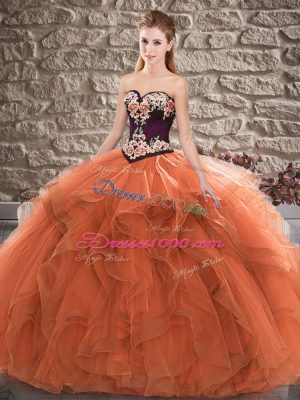 Orange Tulle Lace Up 15 Quinceanera Dress Sleeveless Floor Length Beading and Embroidery