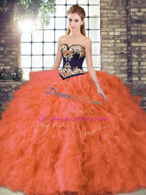 Attractive Orange Red Organza Lace Up Sweetheart Sleeveless Floor Length Ball Gown Prom Dress Beading and Embroidery
