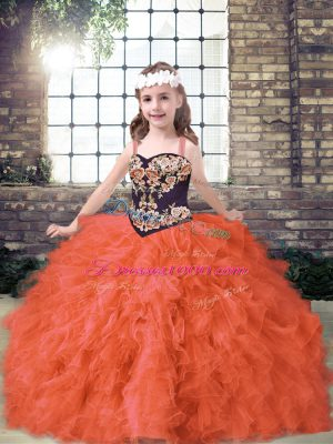 Tulle Straps Sleeveless Lace Up Embroidery and Ruffles Pageant Dress Womens in Orange Red