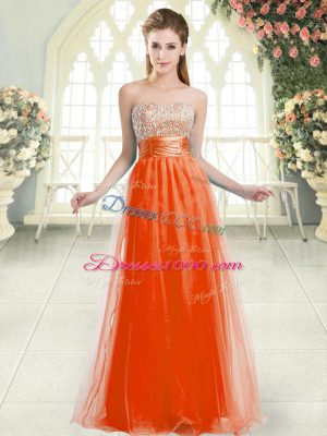 Customized Floor Length Lace Up Prom Dresses Orange Red for Prom and Party with Beading