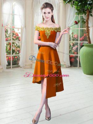 Orange Off The Shoulder Neckline Appliques Homecoming Dress Sleeveless Zipper