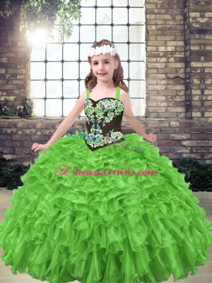 Custom Design Straps Sleeveless Organza Evening Gowns Embroidery and Ruffles Lace Up