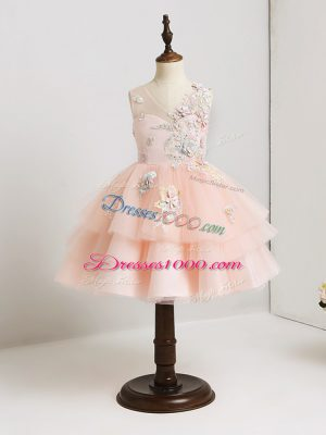 Pink Ball Gowns Appliques Flower Girl Dresses Zipper Tulle Sleeveless Mini Length