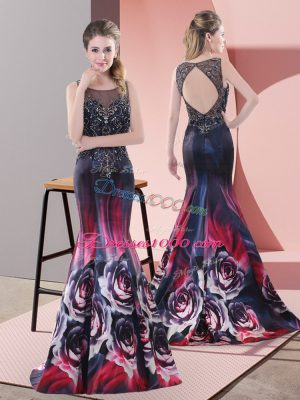 Affordable Sleeveless Sweep Train Beading Backless Prom Dress