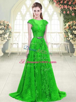 Green A-line Tulle Scoop Cap Sleeves Beading and Lace and Pick Ups Zipper Prom Dresses