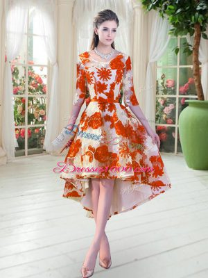 Orange Red Scoop Neckline Belt Dress for Prom Half Sleeves Lace Up