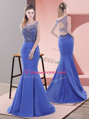 Super Blue Sleeveless Satin Sweep Train Lace Up Dress for Prom for Prom and Party