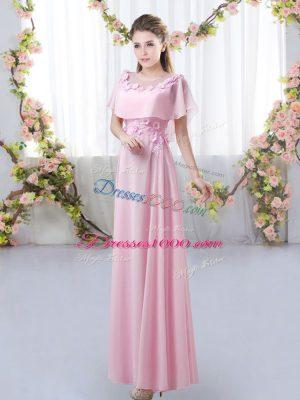 Custom Fit Rose Pink Empire Scoop Short Sleeves Chiffon Floor Length Zipper Appliques Court Dresses for Sweet 16