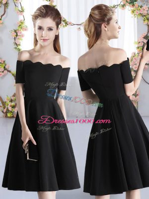 Great Black Short Sleeves Ruching Knee Length Court Dresses for Sweet 16