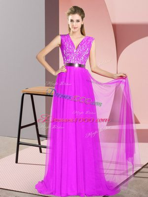 Sleeveless Sweep Train Zipper Prom Evening Gown in Purple with Beading and Lace
