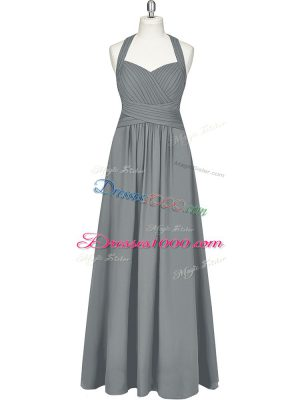 Grey Chiffon Zipper Halter Top Sleeveless Floor Length Ruching