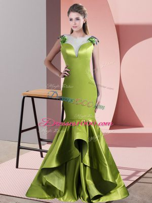 Custom Fit Green and Olive Green Mermaid Scoop Sleeveless Satin Sweep Train Side Zipper Beading Party Dress Wholesale