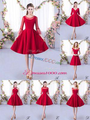 Red A-line Scoop 3 4 Length Sleeve Satin Knee Length Zipper Ruching Bridesmaid Dresses