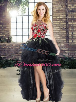 Fantastic Organza Scoop Sleeveless Lace Up Embroidery and Ruffles in Black